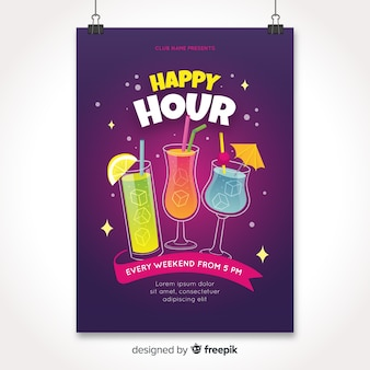 Poster di happy hour con cocktail