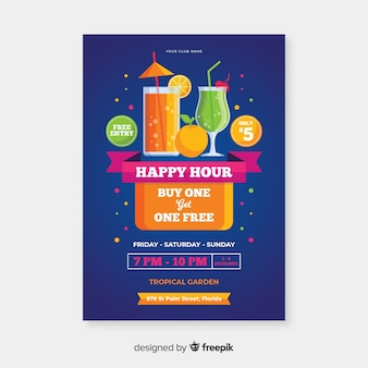 Poster di happy hour per bevande biologiche