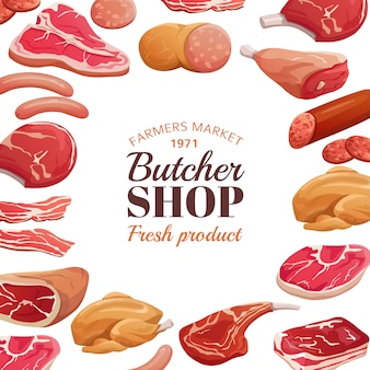 Poster di macelleria. carne fresca cruda, bistecca di manzo e prosciutto di maiale. prodotto a base di carne