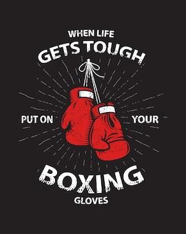 Poster di motivazione boxe grunge e stampa con guantoni da boxe, testo, sunburst e texture grunge.