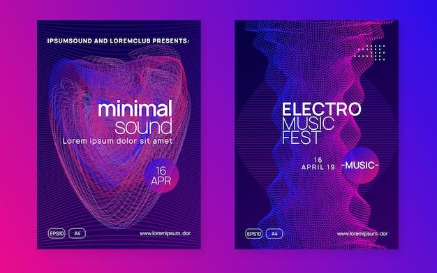 Poster di musica al neon. electro dance dj. fest elettronico del suono. volantino per eventi del club. techno trance party.