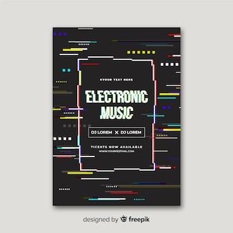 Poster di musica elettronica effetto glitch modello