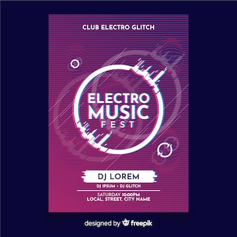Poster di musica elettronica modello con effetto glitch