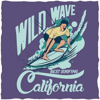 Poster di onde selvagge california