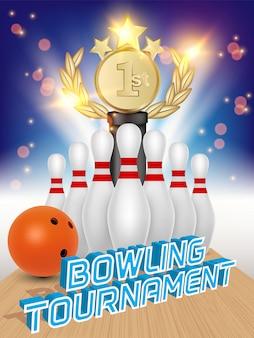 Poster di palla da bowling, birilli, premio trofeo e bowling.