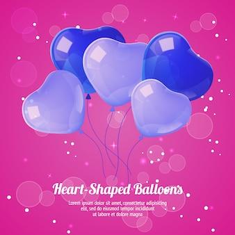 Poster di palloncini a forma di cuore