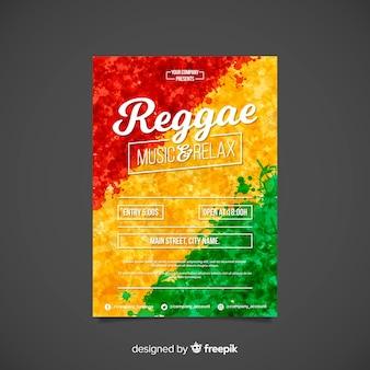 Poster di partito colorato reggae con design piatto