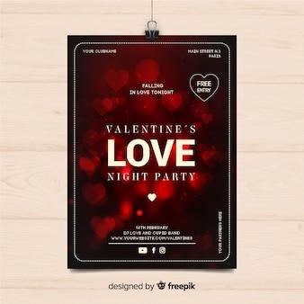 Poster di partito di san valentino cuori offuscata