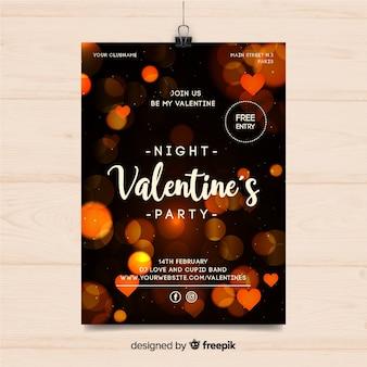 Poster di partito di san valentino luci sfocate