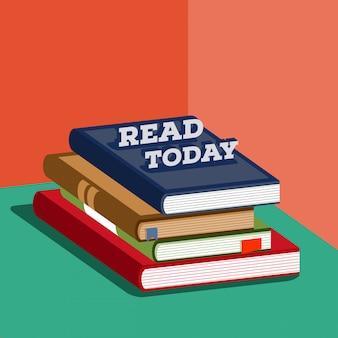 Poster di pila di libri isometrici