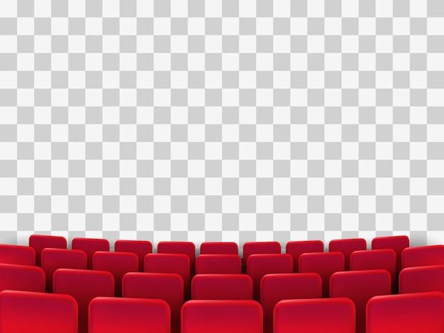 Poster di premiere di cinema con sedili rossi. sfondo.