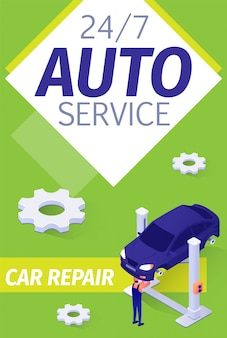 Poster di presentazione moderno per il servizio di auto a tempo pieno