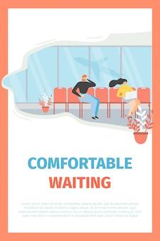 Poster di promozione vettoriale piatto aeroporto attesa