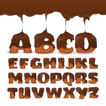 Poster di raccolta di biscotti di alfabeto di cioccolato di fusione