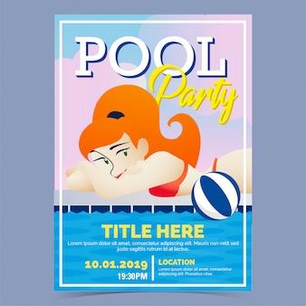 Poster di ragazza sexy festa in piscina