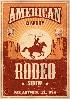 Poster di rodeo cowboy americano con tipografia e texture di carta vintage