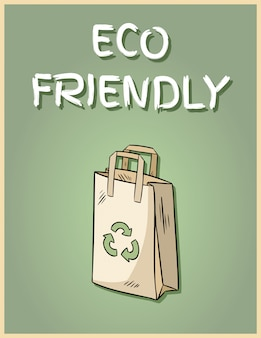 Poster di sacchetto di carta eco friendly. frase motivazionale