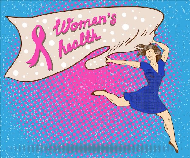 Poster di salute della donna in stile fumetto pop art. la donna tiene la bandiera con il simbolo del nastro rosa cancro al seno