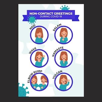 Poster di saluti senza contatto