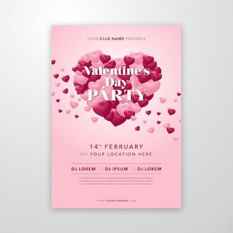 Poster di san valentino con cuori volanti a forma di cuore per volantino o copertina