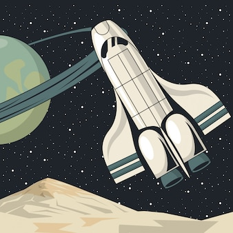 Poster di scena spaziale con battenti spaziali
