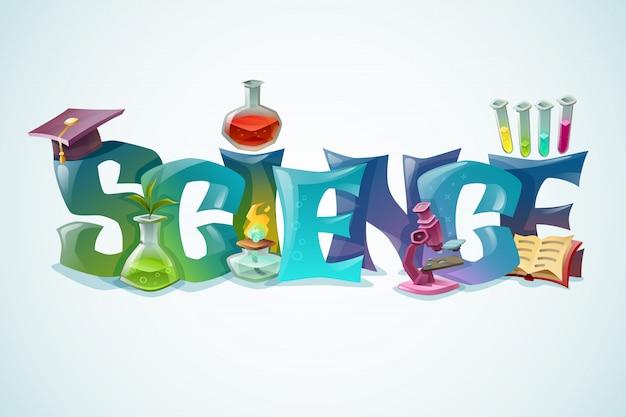 Poster di scienza con iscrizione decorativa