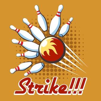Poster di sciopero di bowling pop art