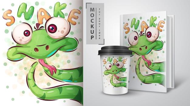 Poster di serpente carino e merchandising
