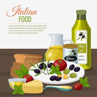 Poster di sfondo culinario di olio d'oliva