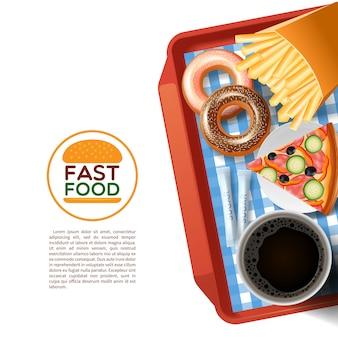 Poster di sfondo vassoio di fast food