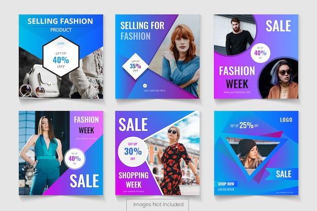 Poster di social media per la vendita con offerta di prodotti di moda