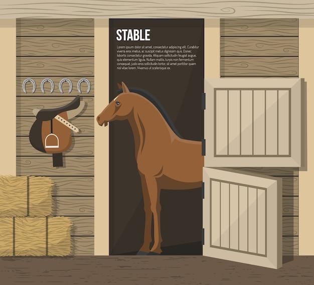 Poster di stalla per allevamento di cavalli da allevamento