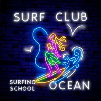 Poster di surf in stile neon