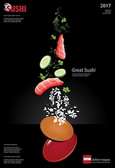 Poster di sushi restaurant vector illustration