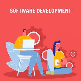 Poster di sviluppo piatto vettoriale di software con testo