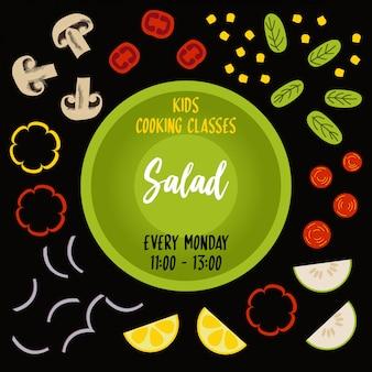 Poster di tipografia di insalata