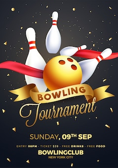 Poster di torneo di bowling, flyer o banner design.