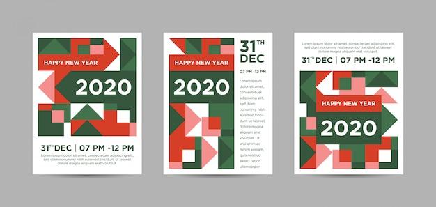 Poster di trittico astratto colorato di felice anno nuovo 2020