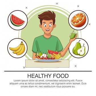 Poster di uomo giovane cibo sano
