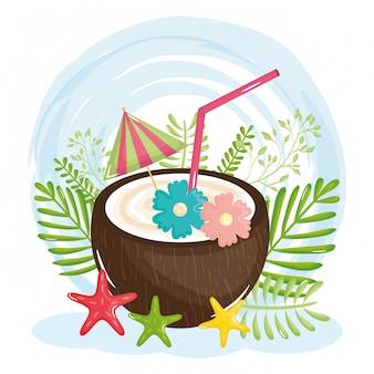 Poster di vacanze estive con cocktail di cocco