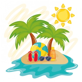 Poster di vacanze estive con isola e icone
