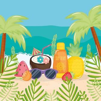 Poster di vacanze estive con scena spiaggia e icone