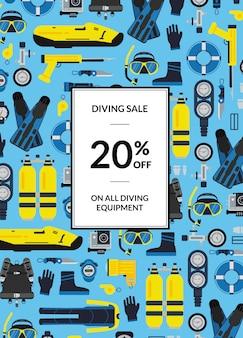 Poster di vendita di attrezzatura subacquea subacquea con posto per il testo