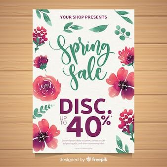 Poster di vendita primavera acquerello