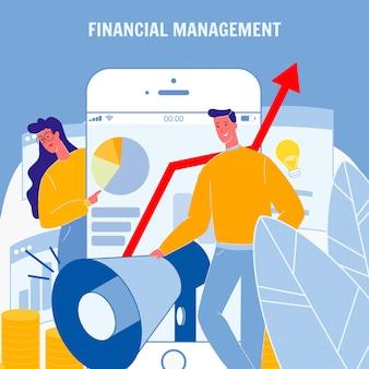 Poster di vettore piatto di gestione finanziaria con testo