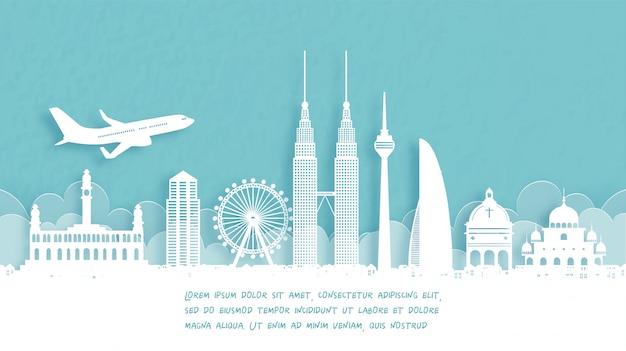 Poster di viaggio con benvenuto a singapore