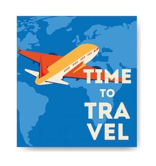 Poster di viaggio con volo in aereo
