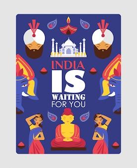 Poster di viaggio dell'india, citazione di tipografia l'india ti sta aspettando