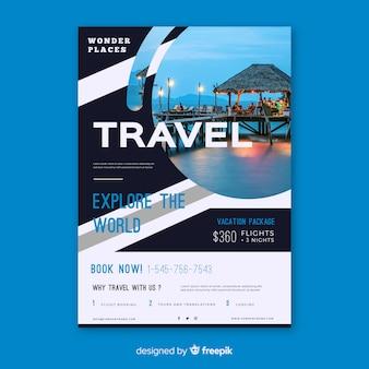 Poster di viaggio modello con foto