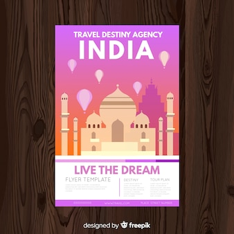 Poster di viaggio piatto cityscape